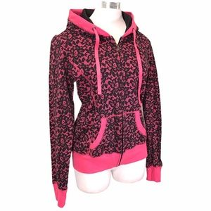 Zipper Hoodie Black Lace Print On Pink Size XL